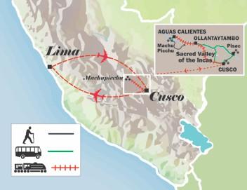 map of the itinerary peru tour short inca trail to machu picchu