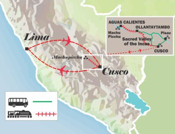 map of the itinerary peru tour cusco and machu picchu