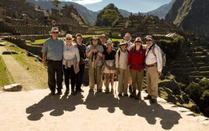 One of our groups before enjoying a private tour around the ancient city of machu picchu during their peru tour