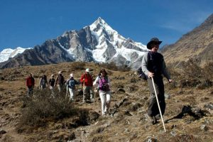 group of tourists trekking on the inca trail to machu picchu